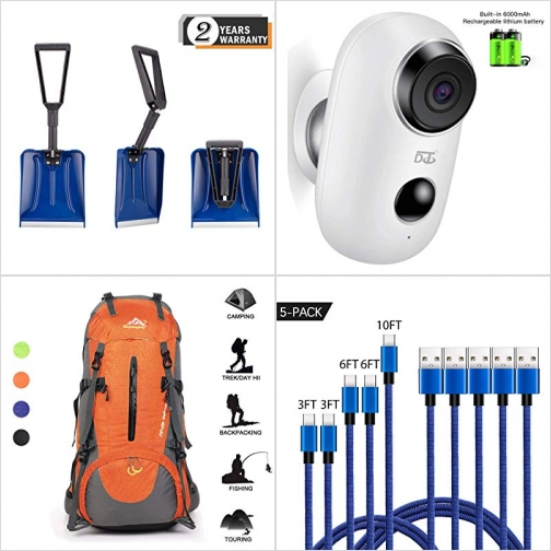 [Amazon折扣碼] 折疊式雪鏟, 無線室外監視器-使用電池, 登山包, USB Type C 充電線 額外折扣!