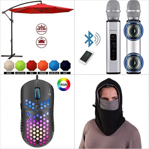[Amazon折扣碼] 庭園遮陽傘, 卡拉OK麥克風, 遊戲滑鼠, 保暖面罩 額外折扣!