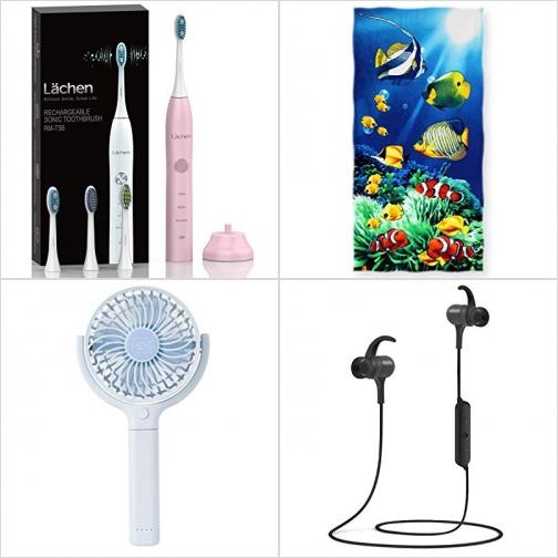 [Amazon折扣碼] 電動牙刷, 兒童海灘大浴巾, 手持小電扇, 藍芽無線耳機 額外折扣!