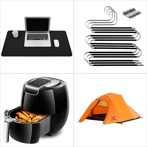 [Amazon折扣碼] 仿皮防水桌墊/滑鼠墊, S型防滑衣架, 氣炸鍋, 三人帳 額外折扣!