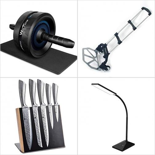 [Amazon折扣碼] 運動健身腹肌滾輪, 載物推車, 菜刀及磁性刀架, LED護眼桌燈 額外折扣!