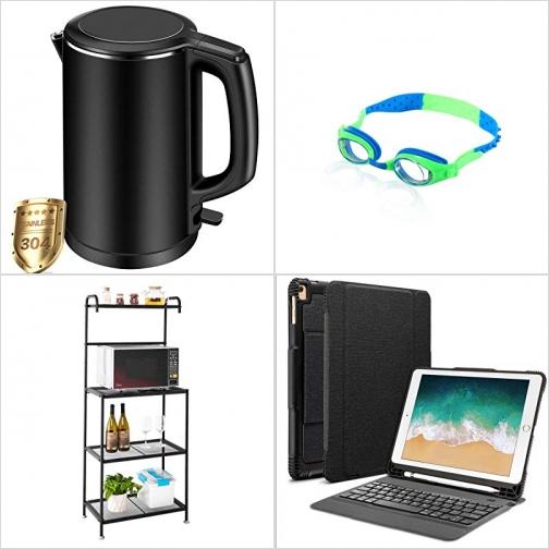 [Amazon折扣碼]雙層不锈鋼電熱水瓶, 成人游泳蛙鏡, 廚房金屬置物架, ipad含鍵盤保護套 額外折扣!