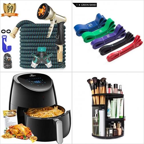 [Amazon折扣碼] 伸縮澆花水管, 運動健身彈性帶, 氣炸鍋, 旋轉化妝品收納架 額外折扣!