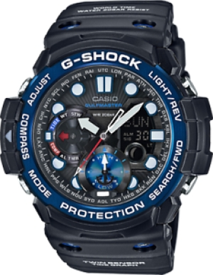 ihocon: Casio Gulfmaster Master of G Men's Solar Twin Sensor 53.5mm Watch GN1000B-1A 卡西歐男錶