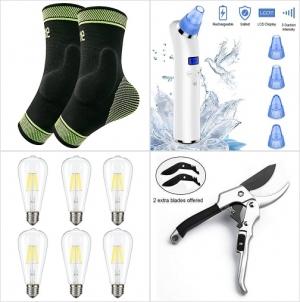 Amazon: 矽膠墊無趾襪, 黑頭粉刺吸除器, 光線微調LED燈泡, 園藝剪刀 額外折扣!