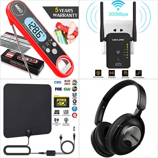 [Amazon折扣碼] 廚用温度計, WiFi Range Extender網路訊號增強器, 室內電視天線, 藍芽無線耳機 額外折扣!