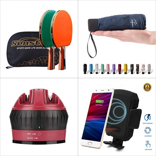 [Amazon折扣碼] 乒乓球拍, 迷你雨傘,  磨刀器, 無線充電汽車手機固定架 額外折扣!
