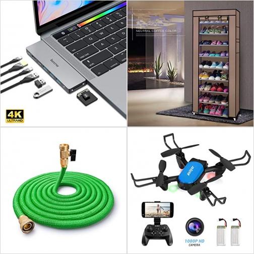 [Amazon折扣碼] USB C Hub, 九層鞋架, 50呎伸縮水管, 迷你空拍機 額外折扣!
