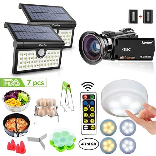 [Amazon折扣碼] LED太陽能動作感應庭園燈, 4K Camcorder攝影機, 壓力鍋配件, 遙控LED櫥櫃燈 額外折扣!