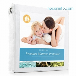 ihocon: LINENSPA Premium Smooth Fabric Mattress Protector - 100% Waterproof - Hypoallergenic - 10 Year Warranty - Vinyl Free - Queen