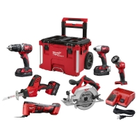 ihocon: Milwaukee M18 18-Volt Lithium-Ion Cordless Combo Kit (6-Tool) W/ 3-Batteries, Charger and PACKOUT Rolling Tool Box