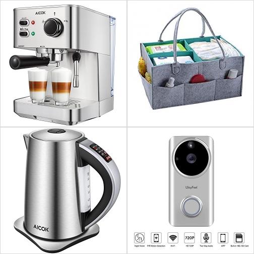 [Amazon折扣碼] Espresso奶泡咖啡機, 尿片/小物收納籃, 不銹鋼電熱水瓶, 智能可視監控門鈴 額外折扣!