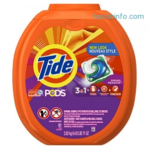 ihocon: Tide PODS 3 in 1 HE Turbo Laundry Detergent Pacs, Spring Meadow Scent, 81 Count Tub - Packaging May Vary