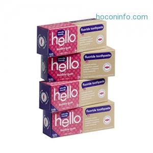 ihocon: Hello Oral Care Fluoride Toothpaste for Kids Age 2 Above, Bubble Gum, 4 Count兒童牙膏
