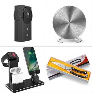 [Amazon折扣碼] 雙鏡頭Panoramic 相機, 藍芽Speaker, 手錶,手機充電架, 廚用剪刀 額外折扣!