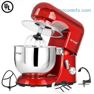 ihocon: Cheftronic SM-986 120V/650W 5.5qt Bowl 6 Speed Kitchen Electric Mixer (Red)