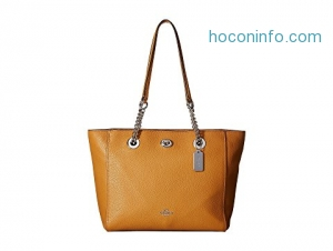 ihocon: COACH包包 Pebbled Turnlock Chain Tote 27