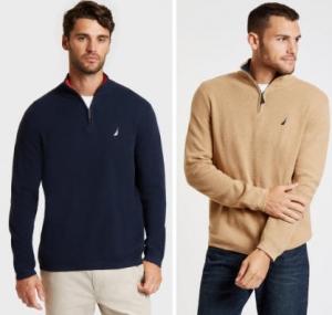 ihocon: Nautica Mens Long Sleeve Quarter-Zip Sweater 男士長袖毛衣-2色可選
