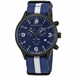ihocon: BROOKLYN男錶 Bedford Brownstone Chronograph Blue Dial Men's Watch