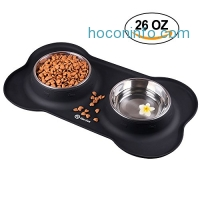 ihocon: HarJue Dog Bowls with No-Spill Non-Skid Silicone Mat 狗碗2個+防滑矽膠墊