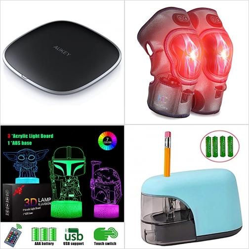 [Amazon折扣碼] 手機無線充電板, 膝部加熱按摩器, 3D立體夜燈, 電動削鉛筆機 額外折扣!