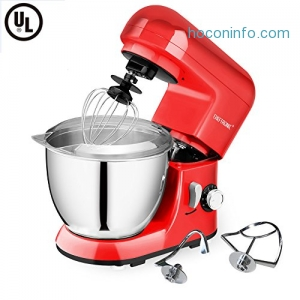 ihocon: CHEFTRONIC Stand Mixer 6 Speeds Tilt-head Compact Electric Mixer & Stainless Steel Bowl