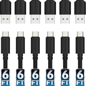 ihocon: Sabrent 6ft USB-C to USB A 2.0 Sync and Charge Cables [6-Pack]充電線