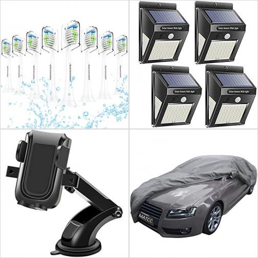 [Amazon折扣碼] 電動牙刷替換刷頭, 太陽能LED動作感應庭園燈, 汽車手機固定架, 汽車防水防塵套 額外折扣!