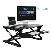 ihocon: FlexiSpot Stand up Desk - 35 Height Adjustable Standing Desk Riser with Removable Keyboard Tray (Black)電腦增高架