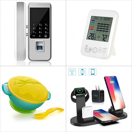 [Amazon折扣碼] 智能數字/指紋門鎖, 室內温/濕度計, 幼童吸盤碗及湯匙, 無線手機/手錶充電座 額外折扣!