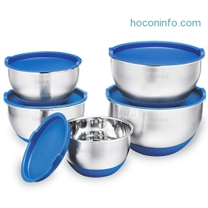 ihocon: 5 Piece Stainless Steel Mixing Bowls Set With Lids