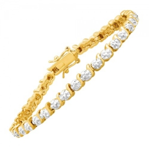 ihocon: Tennis Bracelet with Diamonds in 14K Gold Flashed & Sterling Silver-Plated Brass 鑽石手鍊