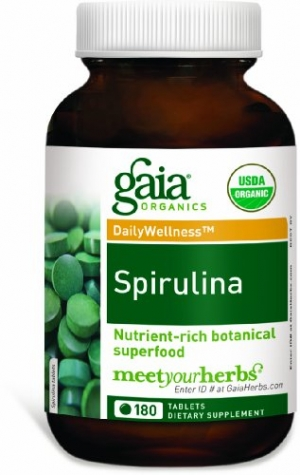 ihocon: Gaia Herbs Spirulina Vegan Tablets, 180 Count - USDA Organic Superfood, Vitamin, Mineral & GLA Fatty Acid Source 有機螺旋藻180粒