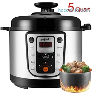 ihocon: Housmile 5 Qt 9-in-1 Multi-Use Programmable Pressure Cooker, Rice Cooker, Cake, Ribs, Poultry, Bean, Porridge, Soup and Warmer多功能電子壓力鍋