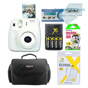 ihocon: Fujifilm Instax Mini 8 Instant Film Camera With Fujifilm Instax Mini Instant Film Twin Pack (20 Sheets), Compact Bag Case, Batteries and Battery Charger (White)