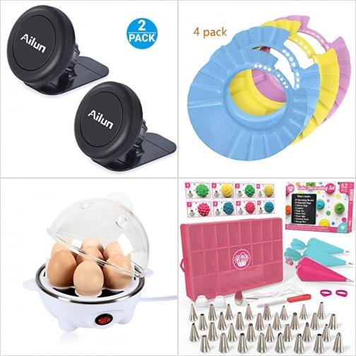 [Amazon折扣碼] 汽車磁性手機固定器, 嬰兒浴帽, 煮蛋機, 蛋糕裝飾工具 額外折扣!