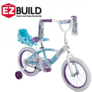 ihocon: Huffy Disney Frozen 16 EZ Build Girls Bike with Sleigh Doll Carrier, White/Blue 兒童冰雪奇縁輔助輪自行車