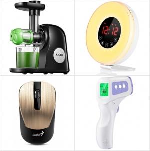 [Amazon折扣碼] 慢磨榨汁機, 自然喚醒燈/鬧鐘, 無線滑鼠, 前額體温計 額外折扣!