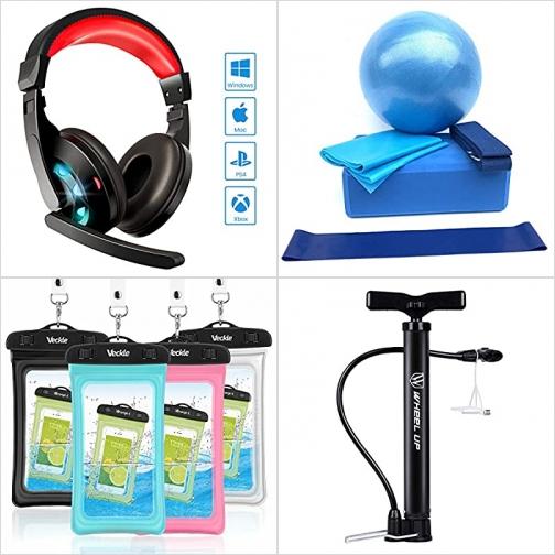 [Amazon折扣碼] 遊戲耳機, 瑜珈用品, 手機防水袋, 迷你腳踏車打氣棒 額外折扣!