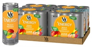 ihocon: V8 +Energy, Juice Drink with Green Tea, Peach Mango, 8 oz. Can (4 Packs of 6, Total of 24)