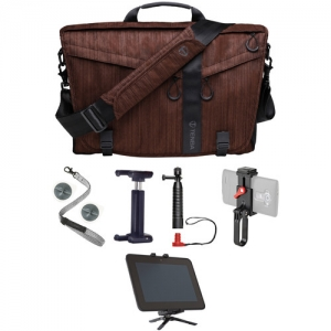 ihocon: Tenba Messenger DNA 15 Slim Camera Carrying Bag (Dark Copper) + Pacsafe Carrysafe 25i Anti-Theft Tablet Wrist Strap + Joby GripTight Mount for Smartphones + Joby Action Grip + Joby GripTight POV Kit + Joby GripTight Micro Stand for Smaller Tablets