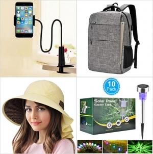 [Amazon折扣碼] 手機/平板固定架, 筆電背包, 遮陽女帽, 太陽能彩色庭園燈 額外折扣!