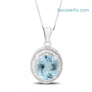 ihocon: 4.50 Carat Heart Shape Natural Blue Topaz and Diamond Pendant in .925 Sterling Silver