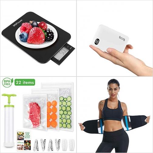 [Amazon折扣碼] 廚用電子秤, 行動電源/充電寶, 可重覆使用真空袋, 塑身腰帶 額外折扣!