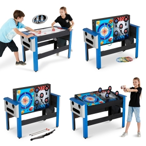 ihocon: MD Sports 48 Inch 4-IN-1 Swivel Combo Game Table, Air Powered Hockey, Archery, Target Shooting and Ring Toss四合一遊戲桌