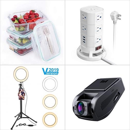 [Amazon折扣碼] 玻璃保鮮盒, 插座塔, 自拍補光手機架, 行車記錄器 額外折扣!