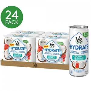 ihocon: V8 +Hydrate Plant-Based Hydrating Beverage, Coconut Watermelon, 8 oz. Can (4 packs of 6, Total of 24)
