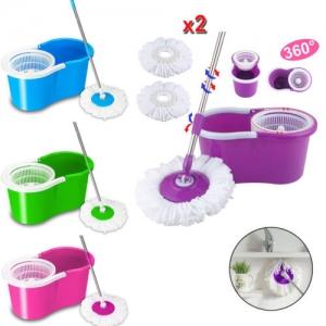 ihocon: 360°Rotating Head Easy Magic Floor Mop Bucket Head Microfiber Spinning Cleaner 旋轉拖把組-多色可選