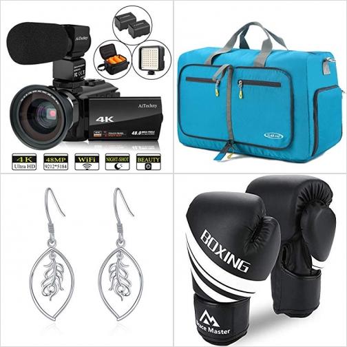 [Amazon折扣碼] 4K Camcorder攝影機, 可折疊Duffel Bag, 純銀耳環, 拳擊手套 額外折扣!