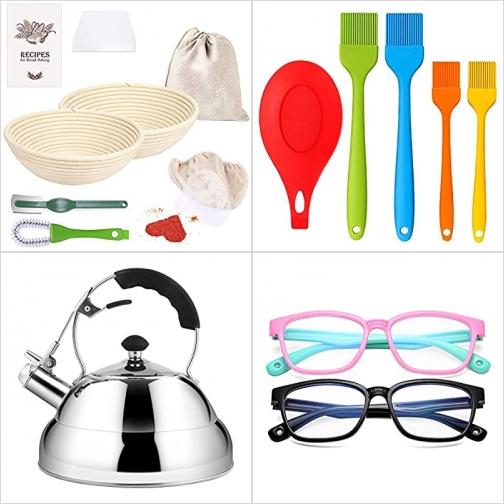 [Amazon折扣碼] 麵包發酵盆及工具, 矽膠刷組, 不銹鋼煮水壺, 兒童軟質抗藍光眼鏡 額外折扣!